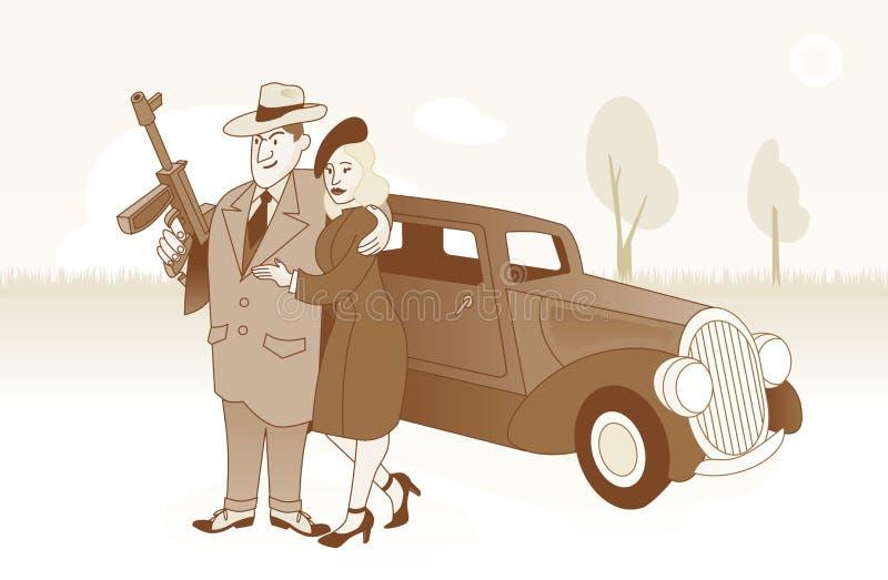 Bonnie e Clyde davanti alla loro automobile fotografia stock libera da diritti