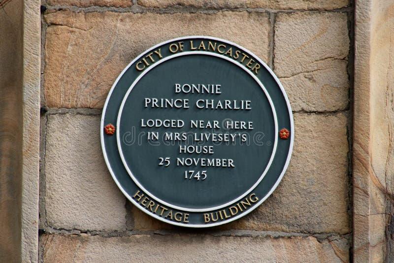 Bonnie Prince Charlie-plaque op huis, Lancaster royalty-vrije stock foto