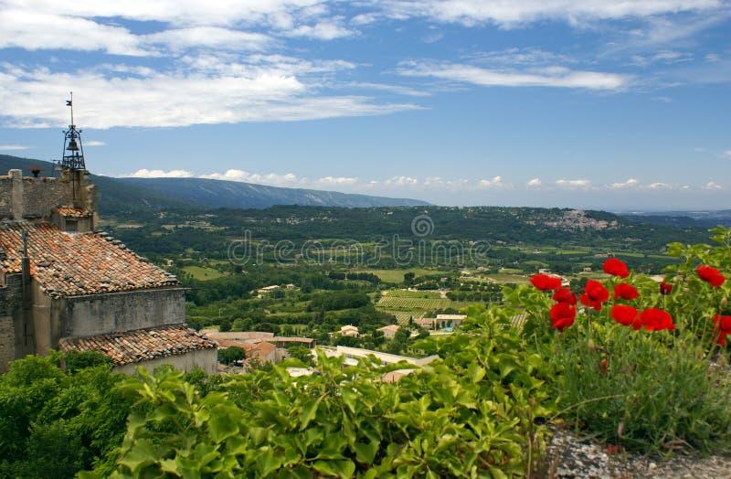 bonnieux法国小山顶普罗旺斯村庄 图库摄影