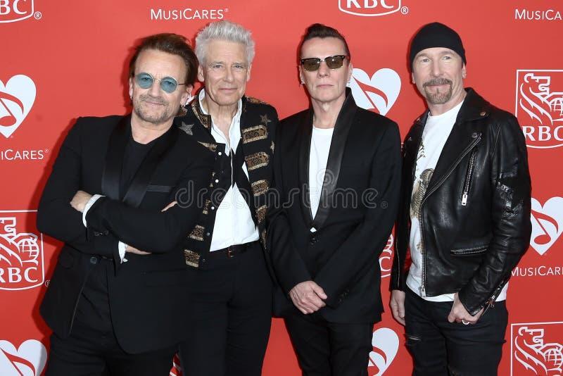 Bono, Adam Clayton, Larry Mullen Jr, The Edge fotografia stock