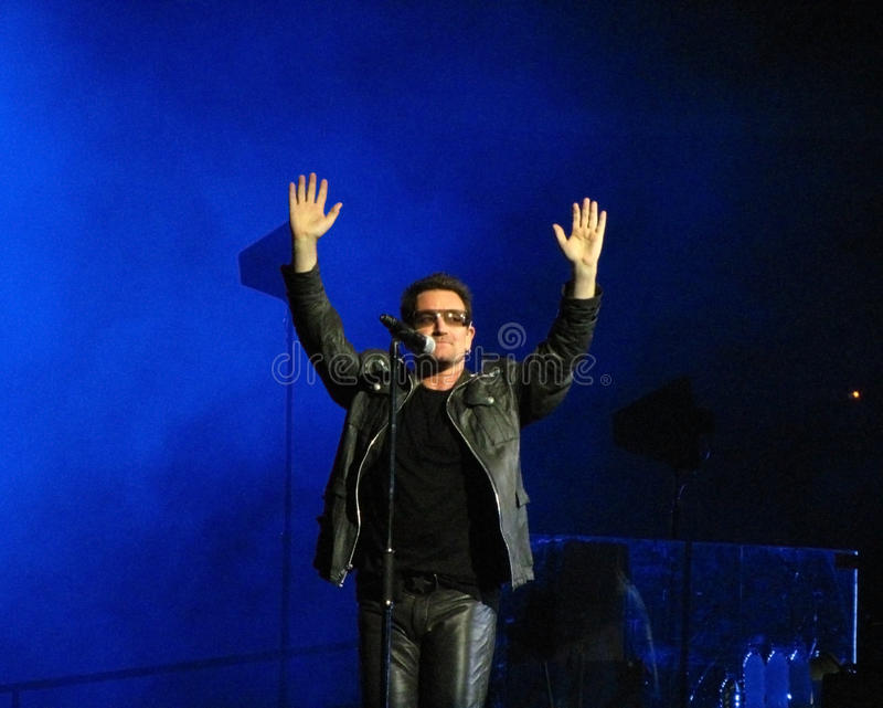 Bono live in Turin 2010 stock photos