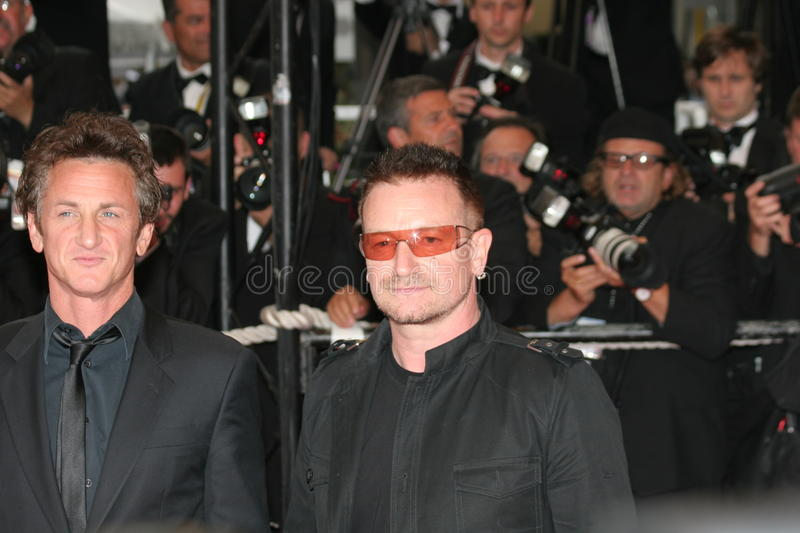 Bono and Sean Penn stock images