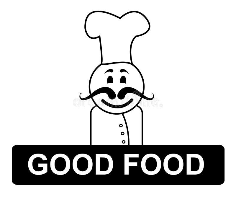 Bons cuisine d'Indicates Cooking In de chef de nourriture et compétent illustration libre de droits