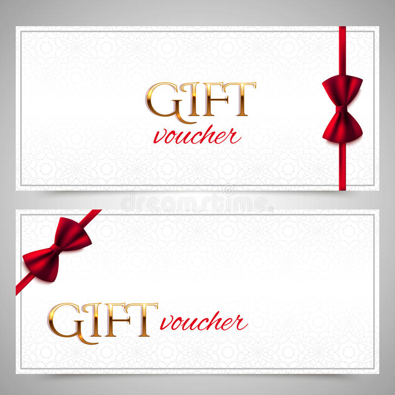 Bons de cadeau de vecteur avec les arcs rouges illustration libre de droits