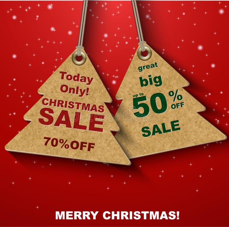 Bons de remise sous forme d'arbre de Noël illustration stock