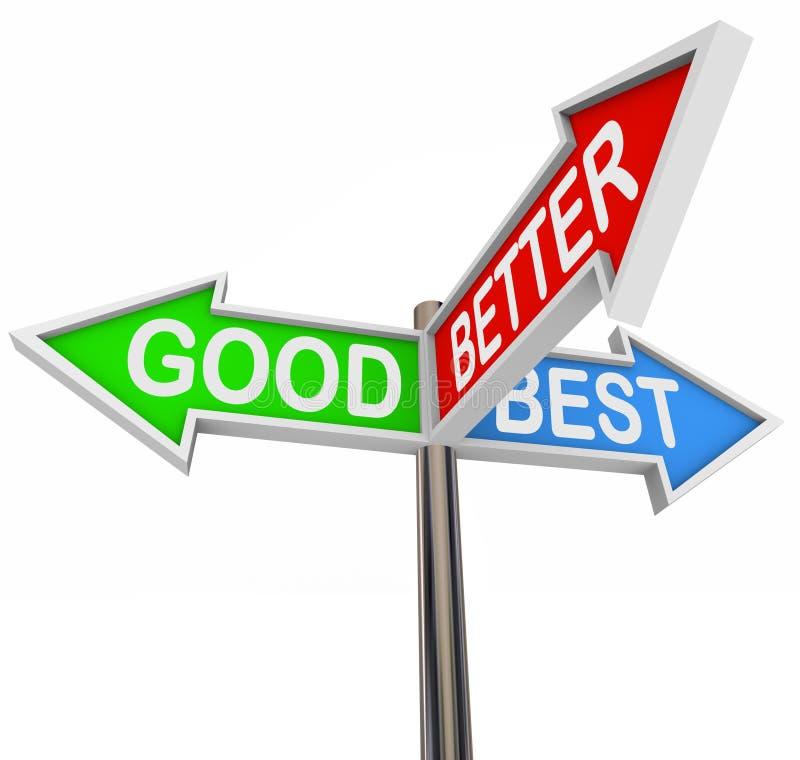 Bons meilleurs meilleurs choix - 3 signes colorés de flèche illustration libre de droits