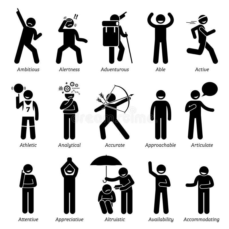 Bons traits de caractère positifs de personnalités Clipart illustration stock