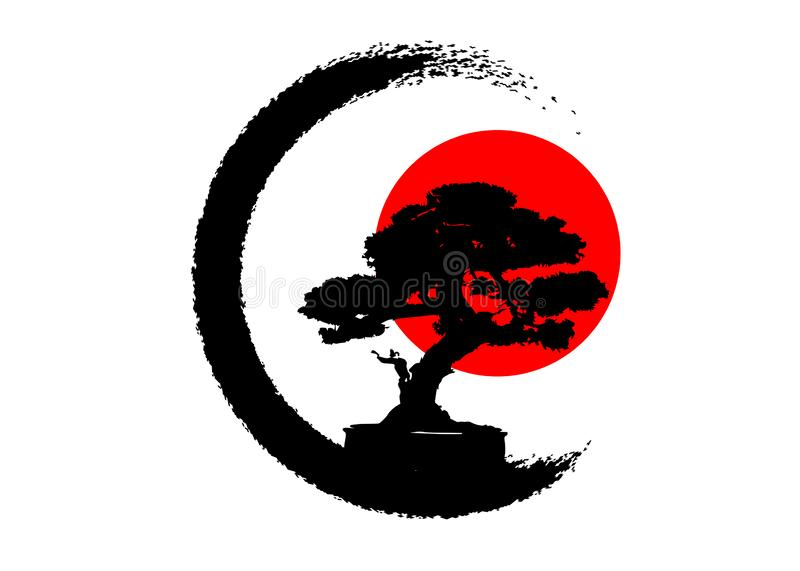 Japanese bonsai tree logo, black plant silhouette icons on white background, green ecology silhouette of bonsai and red sunset. Detailed image. Bio nature vector illustration