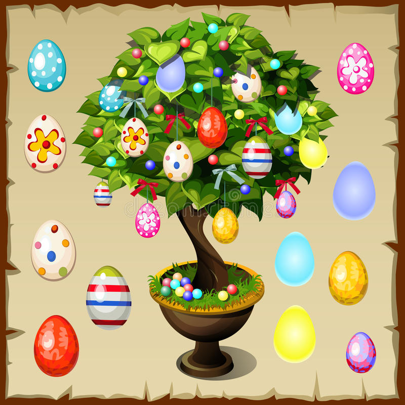 Bonsai decorati con le uova di Pasqua variopinte illustrazione vettoriale
