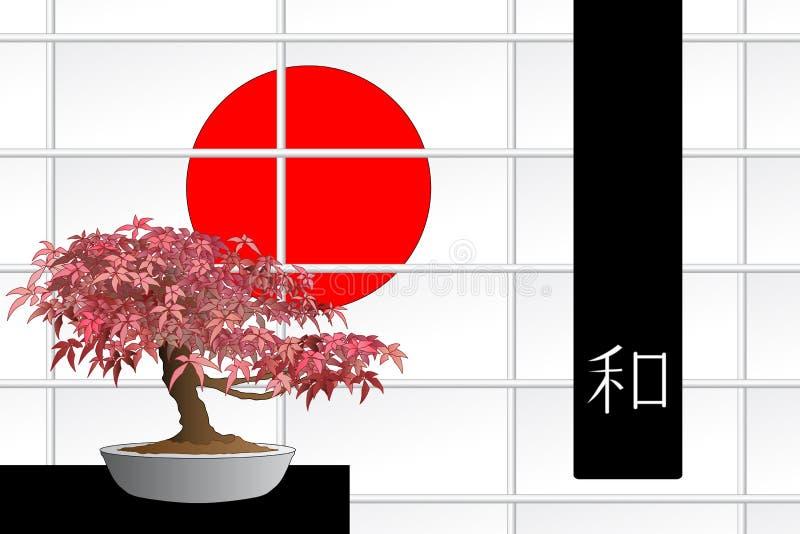 Bonsai dell'acero giapponese illustrazione vettoriale