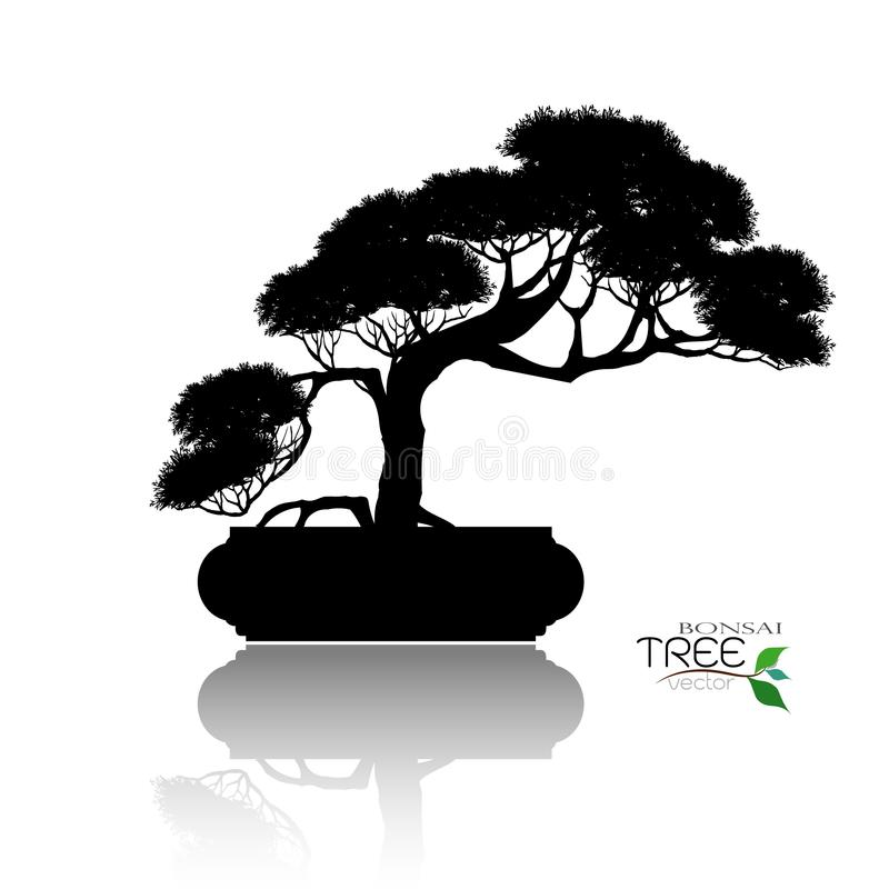 Bonsai drzewo, Wektorowa ilustracja obrazy stock