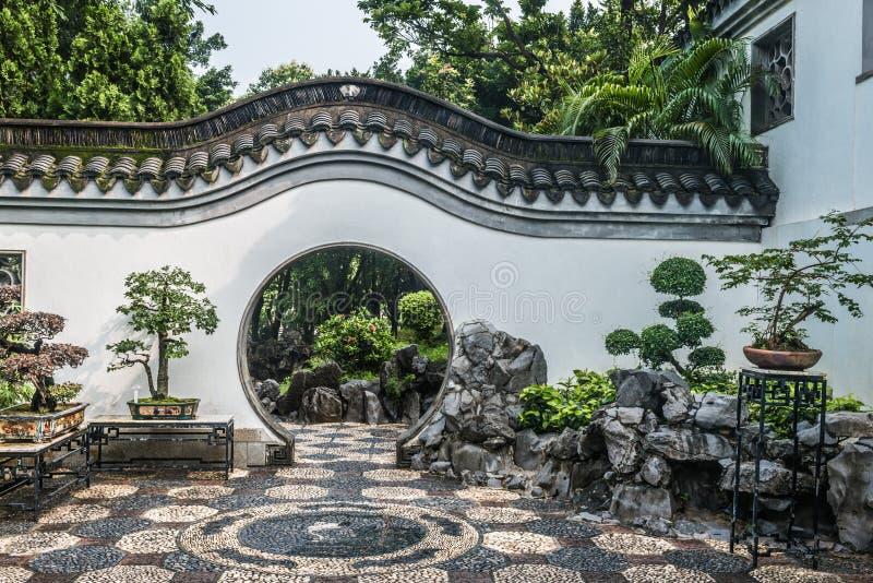 Bonsai garden Kowloon Walled City Park Hong Kong. Bonsai garden Kowloon Walled City Park in Hong Kong royalty free stock photography