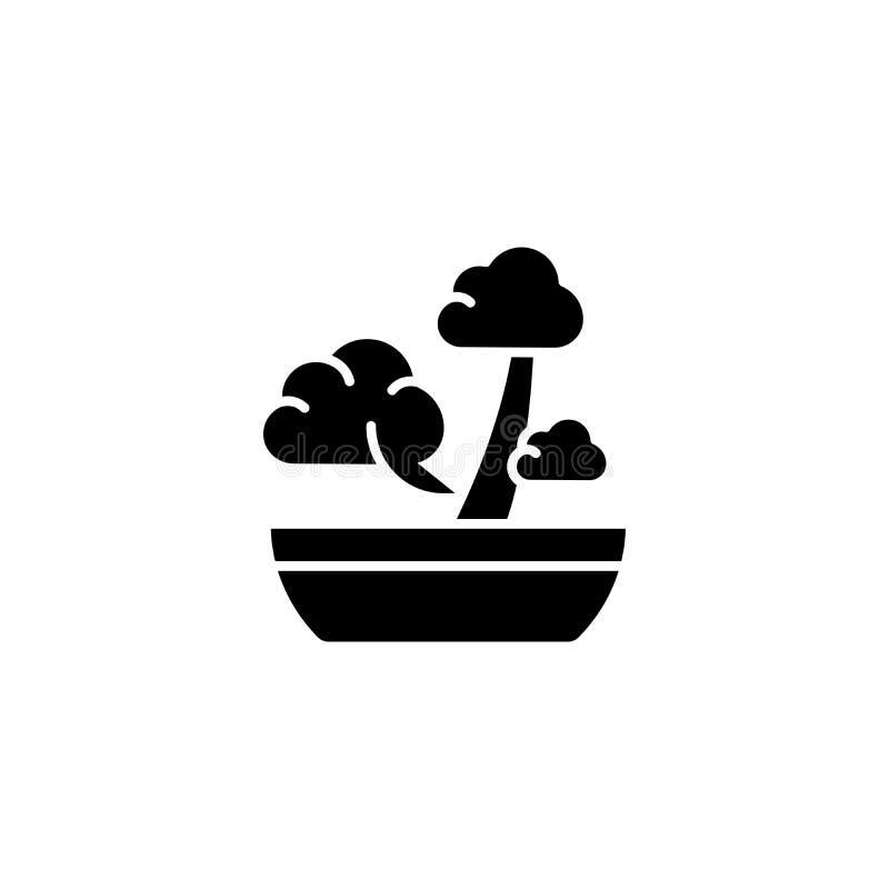 Bonsai ikony czarny pojęcie Bonsai płaski wektorowy symbol, znak, ilustracja ilustracji
