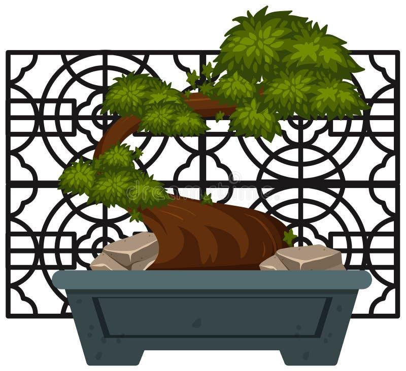 Bonsai in kleipot stock illustratie
