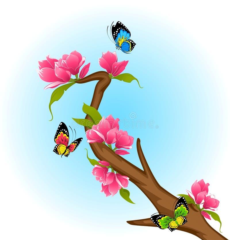 Bonsai met bloemen vector illustratie