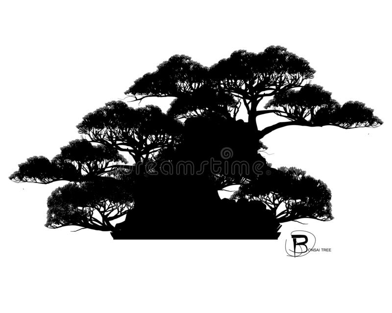 Bonsai, miniboom op de rots vector illustratie