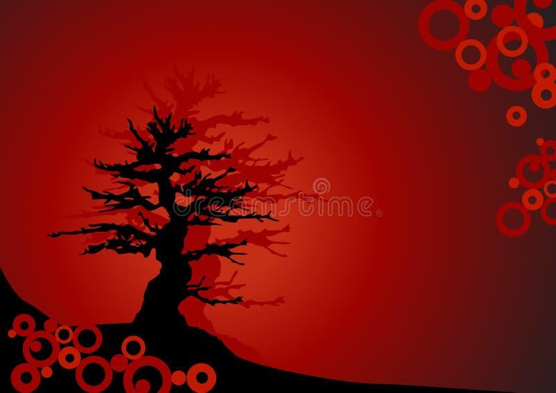 Bonsai op rode achtergrond - Vector royalty-vrije illustratie