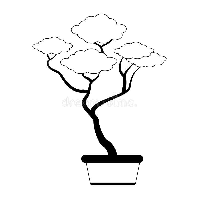 Bonsai in pot in zwart-wit vector illustratie