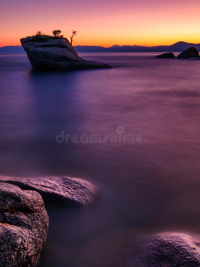 Bonsai Rock, Lake Tahoe. Colorful sunset at Bonsai Rock, Lake Tahoe, Nevada