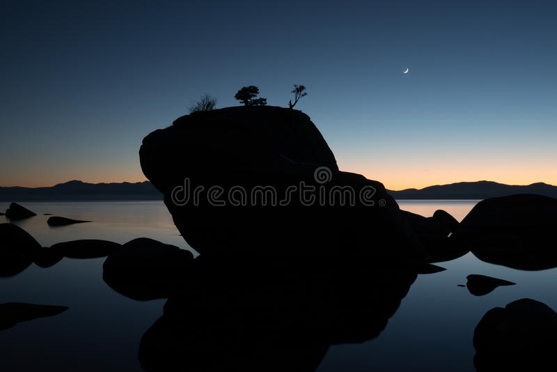 Bonsai Rock, Lake Tahoe, Sunset royalty free stock photography