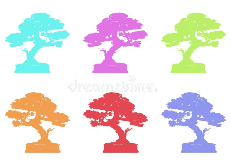 Set Japanese bonsai tree logo, plant silhouette icons on white background, green ecology, colorful silhouette of bonsai. Detailed. Image. Bio nature concept vector illustration