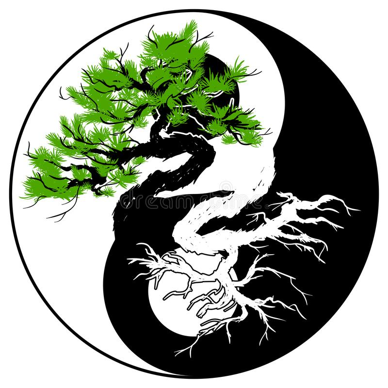 Bonsai in Yin Yang symbol. Vector of Bonsai tree in the Yin Yang symbol on white background royalty free illustration