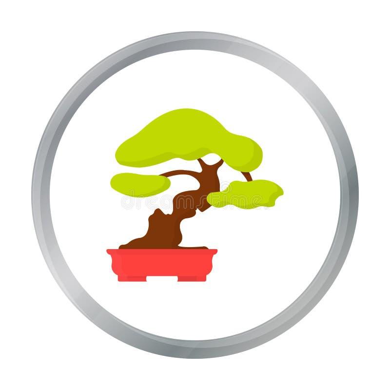 Bonsaipictogram in beeldverhaalstijl op witte achtergrond wordt geïsoleerd die Van de het symboolvoorraad van Japan de vectorillu stock illustratie