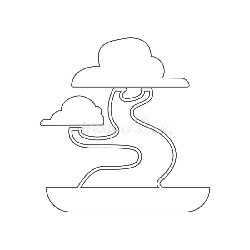 Bonsaipictogram Element van China voor mobiel concept en webtoepassingenpictogram Overzicht, dun lijnpictogram voor websiteontwer stock illustratie