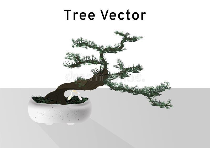 Bonsaipinusen sörjer trädvektorn, det mycket lilla lilla trädet med gröna sidor och den mörka bruna krökningstammen i marmorcemen royaltyfri illustrationer
