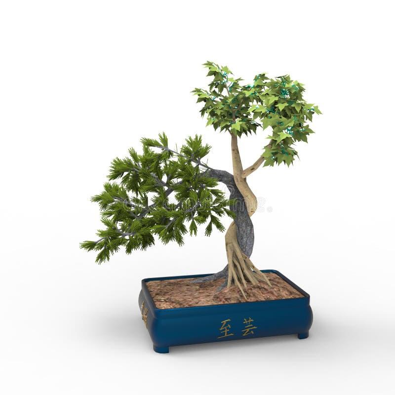 bonsais 3d ejemplo 3d un bonsai stock de ilustración