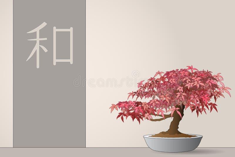 Bonsais do bordo japonês ilustração do vetor