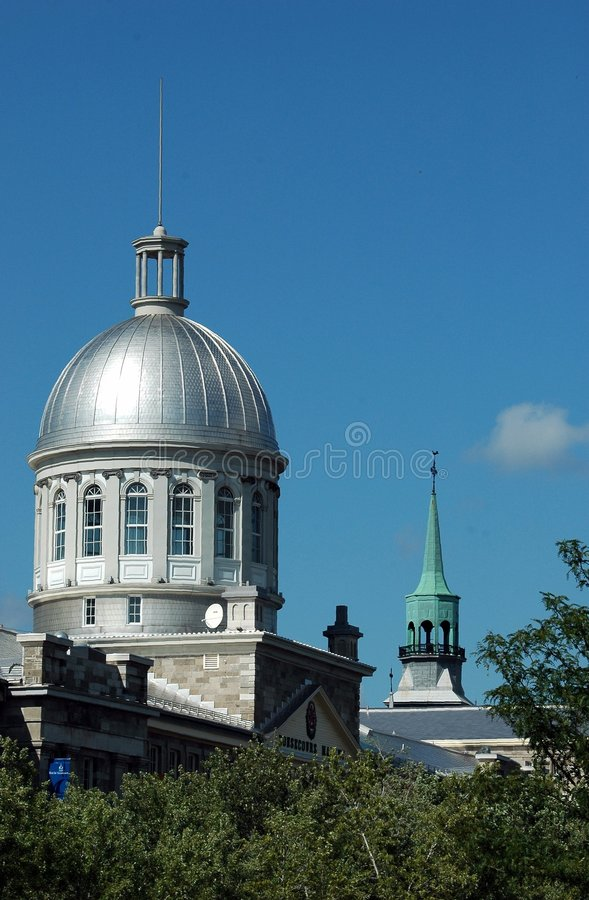 Silver Dome of Bonsecours Market Against Blue Sky royalty free stock images