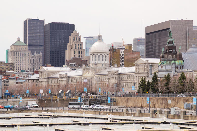 Bonsecours market and downtown Montreal from thhe Old Port of Montreal stock image
