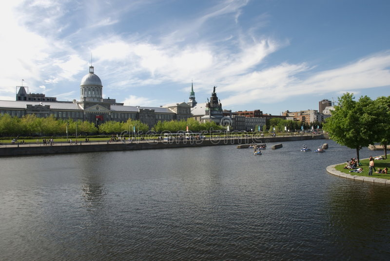 Bonsecours market in old Montreal, Quebec, Canada. Montreal waterfront with old Bonsecours Market building. Quebec, Canada royalty free stock images