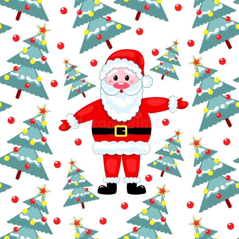 Bont-bomen En Kerstman Stock Afbeeldingen