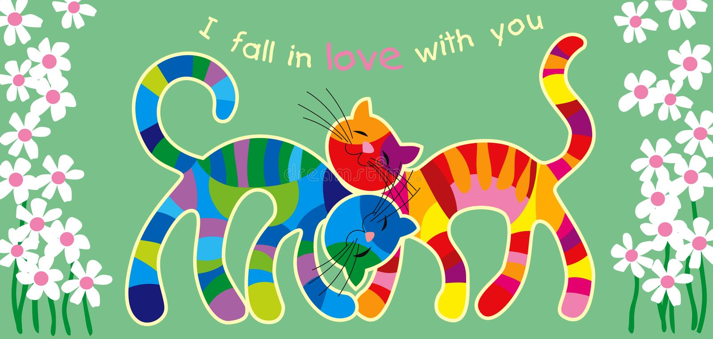 Bont katten in liefde royalty-vrije illustratie