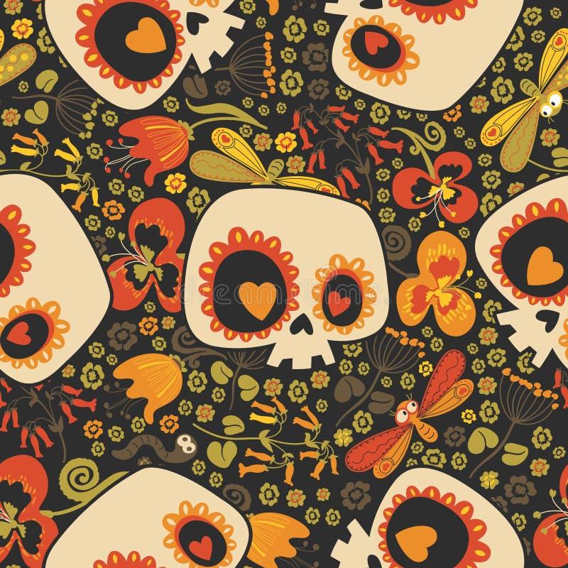 Bont naadloos patroon met silhouetten van mooie beeldverhaal menselijke schedels met hartogen, bloeiende bloemen en leuk stock illustratie