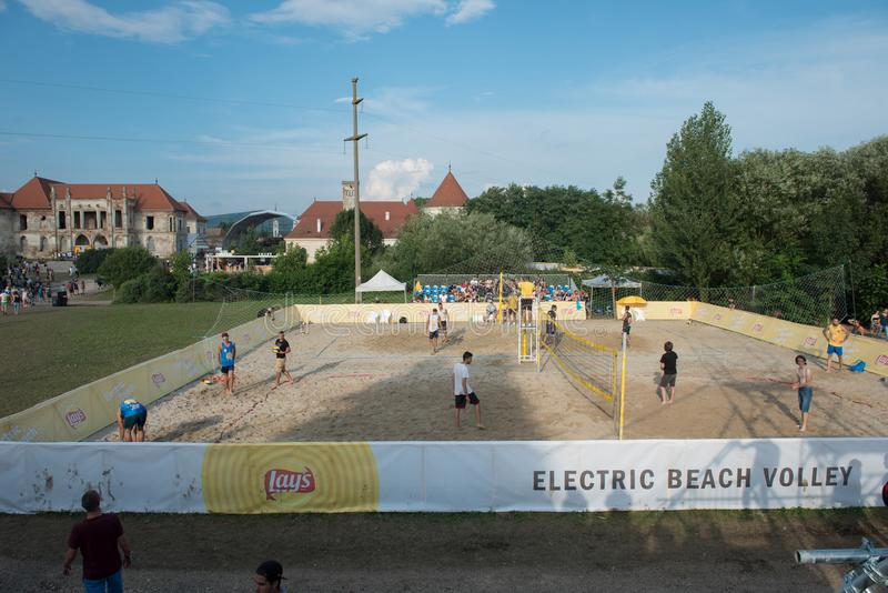 Beach volley at summer festival stock image