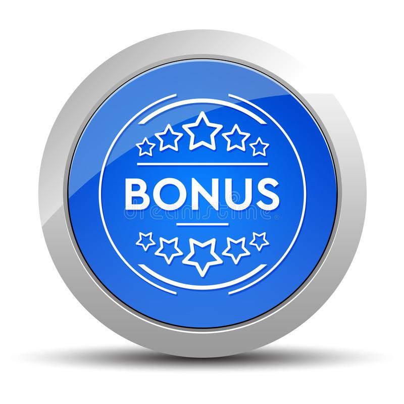 Bonus badge icon blue round button illustration stock illustration