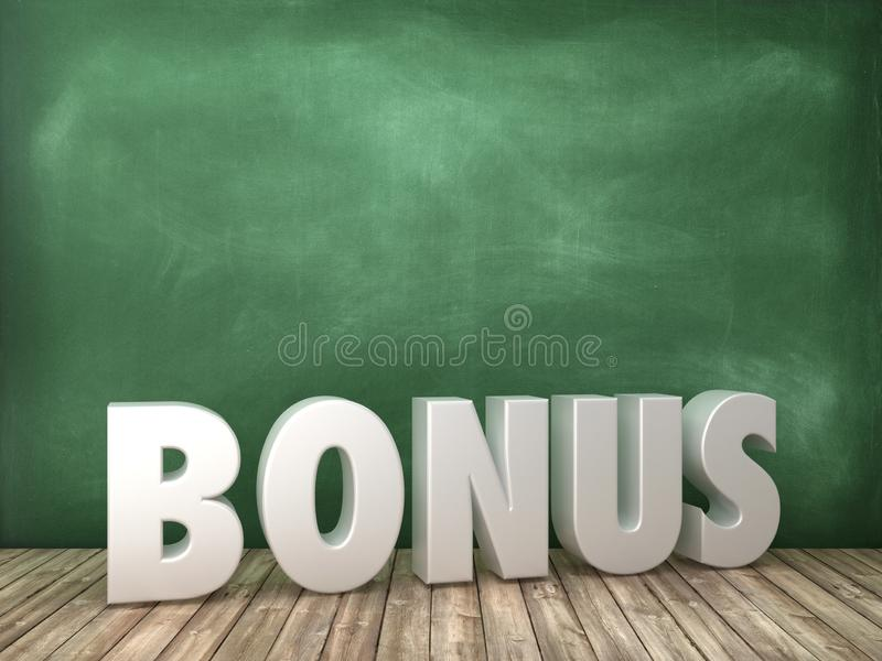 BONUS 3D Word on Chalkboard Background royalty free illustration