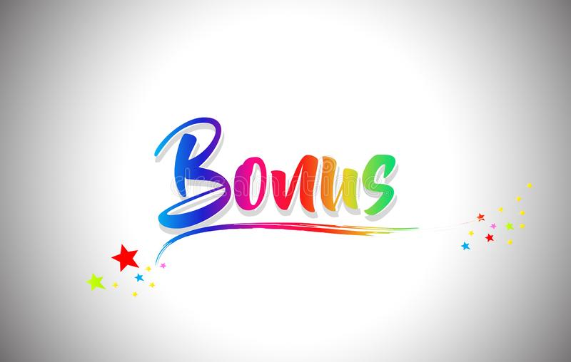 Bonus Handwritten Word Text with Rainbow Colors and Vibrant Swoosh stock illustration