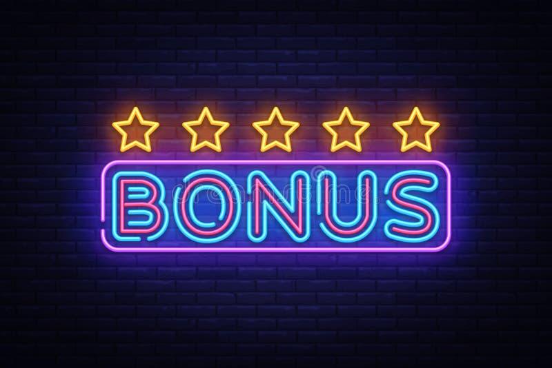 Bonus Neon Text Vector. Bonus neon sign, design template, modern trend design, night neon signboard, night bright. Advertising, light banner, light art. Vector royalty free illustration