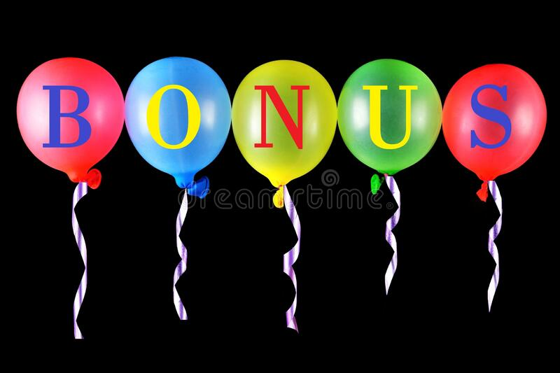 Bonus-reward, additional discount, type of marketing moves. Lettering in the alphabet on balloons colored latex, for design and. Decoration stock images