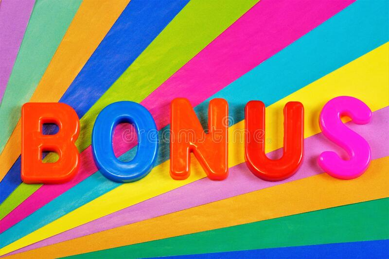 Bonus-reward, additional discount, type of marketing moves for promotion. Lettering in the alphabet on a rainbow background, for. Design and decoration stock photography