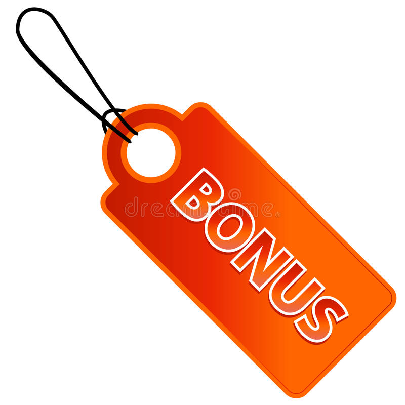 Bonus tag with price list stock illustration