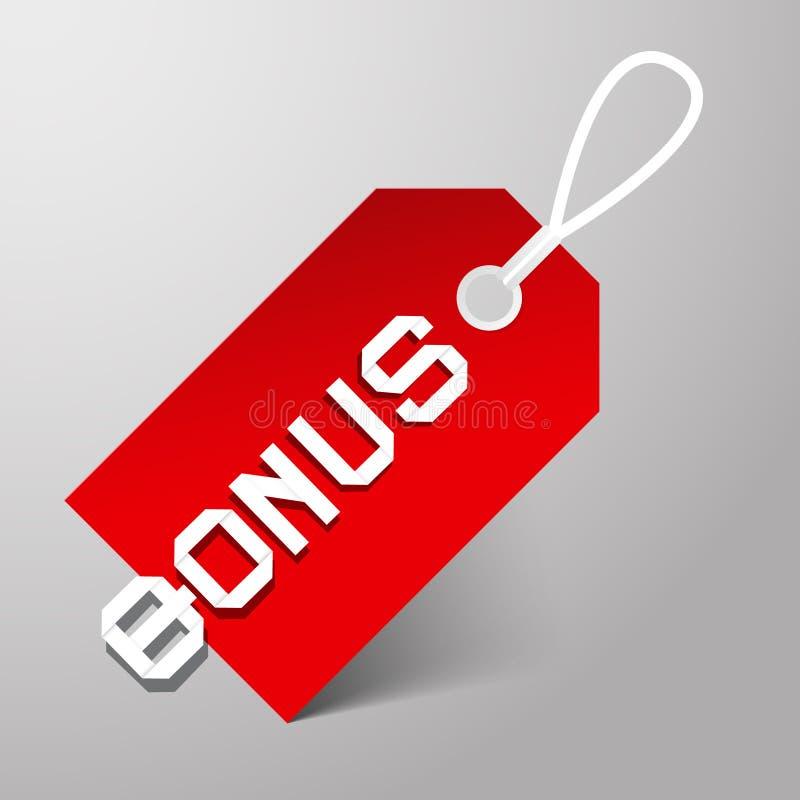 Bonus Vector Rood Etiket royalty-vrije illustratie
