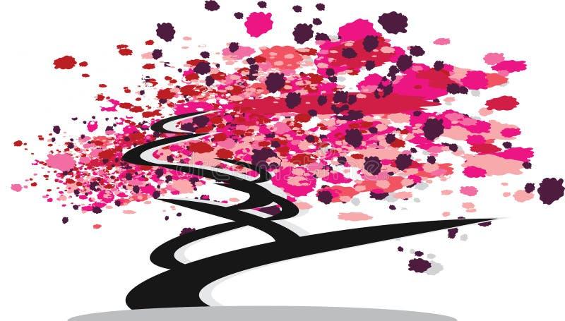 Bonzai Tree abstract with pink leafs. Bonzai Tree abstract contemporary with pink and red leafs vector stock illustration
