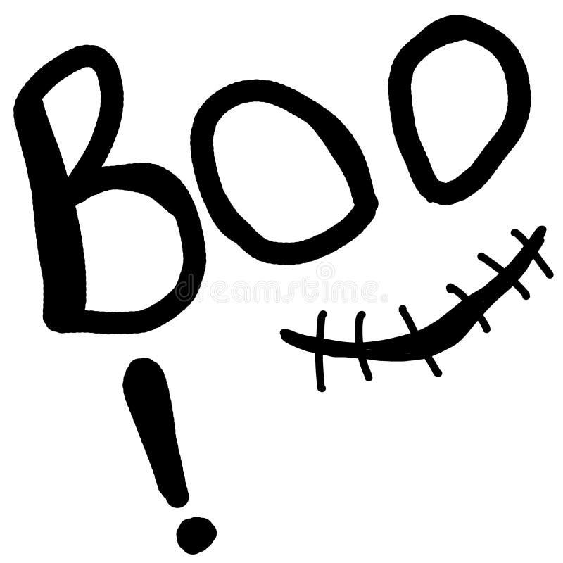 Boo σχεδίων χεριών με τα μάτια και ένα συνδεμένο με καλώδιο χαμόγελο απεικόνιση αποκριές ράστερ για τις αφίσες και τις κάρτες διανυσματική απεικόνιση