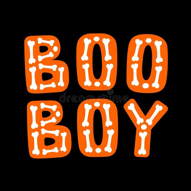 Boo Boy Rotulação de Dia das Bruxas ilustração stock