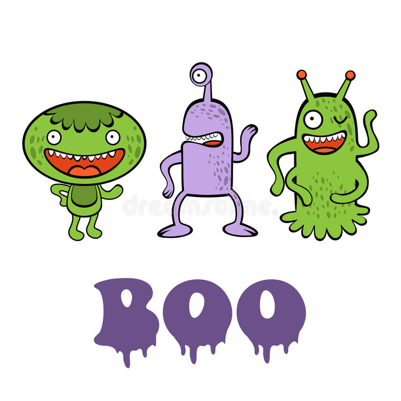 Boo card with three funny monsters vector illustration